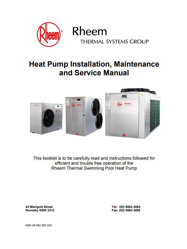 product manuals  rheem thermal swimming pool heating